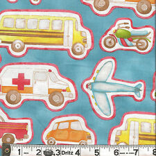 Henry Glass HAPPY TOWN Cars Planes Blue Fabric 1/2 yard by Jacquelynne Steves
