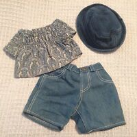 Build A Bear Workshop BABW Outfit Plush Girl Clothes Shorts Denim Hat Top