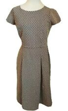 Talbots Size 6 Black White Fit And Flare Dress Basketweave Print