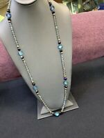 """Vintage AB glass Crystal  Long Glass Beaded Necklace Sweater Style 32"""""""