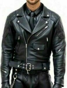 """L"""" Mens Real Cowhide Bikers Jacket Quilted Panels Bikers Jacket BLUF Quilted"""