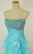 Tony Bowls Size 4 High Slit Turquoise $500 Gown Prom Formal Evening Long Dress