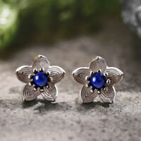 Solid 925 Sterling Silver Jewelry Natural Stone Flower Stud Earrings for Women