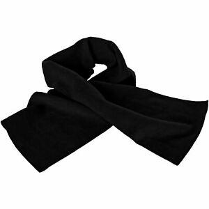 Mens Womens Unisex Thermal Polar Fleece Plain Winter Scarf Black