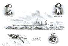 SIMON W. ATACK PRINT 'HMS HOOD' DRAWING