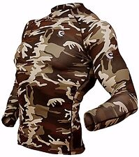 Mens Compression Hunting shirts Sportswear Base layer Camouflage Long Sleeve