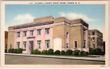LENOIR, North Carolina  NC   CALDWELL COUNTY COURT HOUSE ca 1940s Linen Postcard