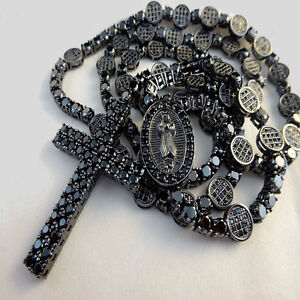 VIRGIN MARY LAB SIMULATE DIAMOND 14K BLACK GOLD/P 35 INCH ROSARY CHAIN NECKLACE