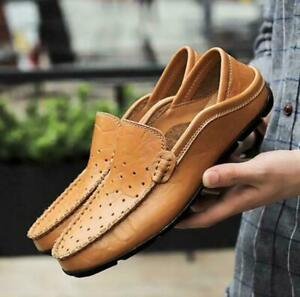 Mens Genuine Pu Leather Driving Moccasin Casual Slip On Loafers Peas Boat Shoes