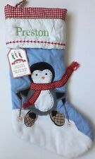 POTTERY BARN KIDS BLUE QUILTED PENGUIN CHRISTMAS STOCKING *PRESTON* NEW SNOW