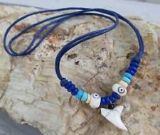 Surfer Boy Girl Men Women Necklace Real Shark Tooth Blue Cord Hawaiian Necklace