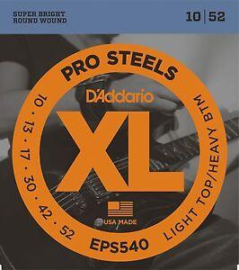 D'Addario Guitar Strings  Electric  Pro Steels  EPS540   Light / Heavy