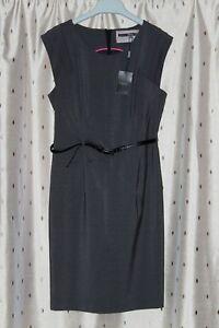 Next Ladies Grey, Lined Sleeveless Stretch Dress With Belt ~ Size 10 NWT
