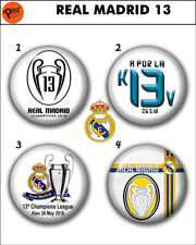 """Collection 4 Pin/Button/Badge Real Madrid 13' Ø32mm/1,25"""" , Champions League"""