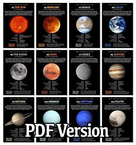 SET OF 12 SOLAR SYSTEM POSTERS / SCIENCE CLASSROOM WALL DISPLAY - FREE DELIVERY