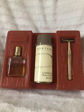Stetson Mens After Shave 1 Fl Oz, Conditioning Shave Cream 6 Oz & Gold Razor Set