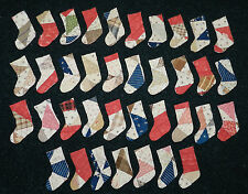 HUGE LOT OF 37 MINI ANTIQUE CUTTER QUILT PRIMITIVE STOCKINGS!! RED BROWN BLUE  3