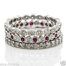 3Ct White Pink Diamond Engagement Wedding Bridal Stackable Ring Set 925 Silver