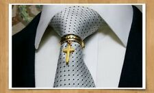 Tie ring bling 18K tone Faith new quality clasp pin tack euro new suit wedding