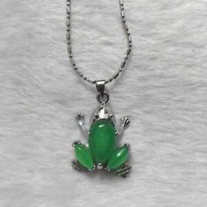 Jewelry Silver Tibet Green Jade Frog Malay Jade Pendant Chain beauty  UK