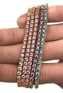 Lot Of 5 Joan Rivers Solid Color Tennis Bracelets, Pink, Blue, And Green