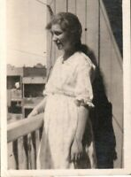 Vintage photograph pretty girl on balcony  in Montreal Quebec c1930s