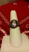 ladies ring 7.5  1.35 Topaz 4.25 Amethyst  Silver rose gold plated
