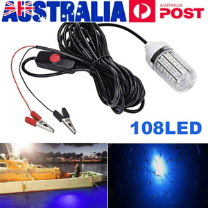 108 LED Underwater Submersible Night Fishing Blue Light Boat Crappie Shad Squid