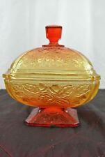 "Vintage Jeanette Acorn Pattern Glass Jar/Box/Candy Dish in Amberina 5-1/2"""