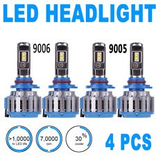 4PCS Headlight Light Bulbs LED High Beam & Low Beam 6000K White 9005 9006