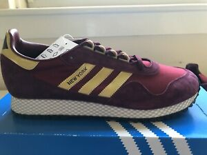 ADIDAS NEW YORK GOLD MAROON BNIBWT SIZE UK 9 TRAINERS NEW SNEAKERS