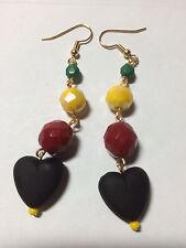 "Heart Drop Earrings 2.75"" Rasta Black Red Yellow Green"