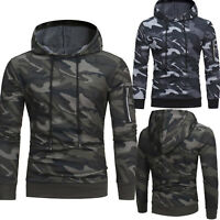 Men Camo Hoodie Pullover Hooded Sweatshirt Military Army Sweater Slim Gym Jacket