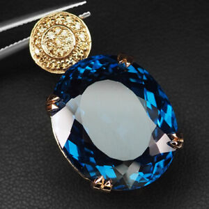TOPAZ SWISS BLUE OVAL 44.40 CT. SAPPHIRE 925 STERLING SILVER ROSE GOLD PENDANT