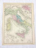 1877 Antique Map of Italy Sicily Sardinia Corsica Original Hand Coloured French