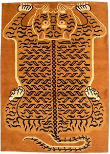 Hand-Knotted Tibetan Tiger Rug 5X7 Fine Nepali Plush Oriental Home Decor Carpet