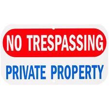 "Aluminum Sign Legend "" No Trespassing Private Property""  Rectangle 6"" x 12"", A-4"
