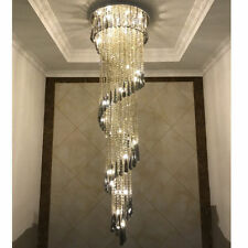 LED Crystal Drop Ceiling Lamp Lighting Chandelier Stair Pendant Light Fixtures