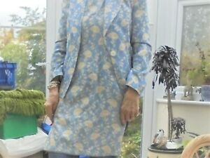 LADIES 2 PIECE SUIT DRESS AND JACKET PALE BLUE AND WHITE MADE IN FRANCE