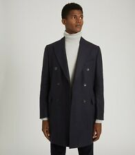 REISS Lewis Wool Blend Double Breasted Overcoat - Navy (Size M) RRP £325