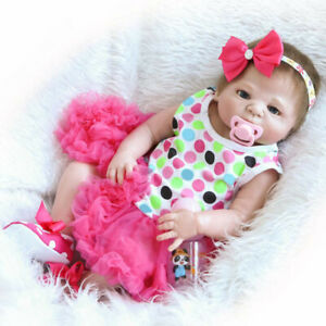 """23"""" Beautiful Full Simulation All Silicone Baby Girl Reborn Doll In Dress Pink"""