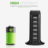 6 Port USB Stand Desktop Charger Smart Quick Charging Station Tower Charger UK