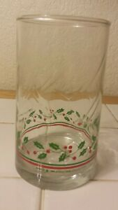 """3 Libbey Arby's CHRISTMAS Promo HOLLY BERRY 5 1/4""""  TUMBLERS"""