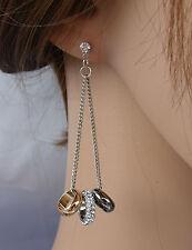 ELEGANTE Orecchini argento oro nero, anelli strass ,cristalli ,donna,idea regalo