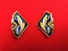 Fire Enamel Gold Navy Rare Michaela Frey Wille Wien Earrings