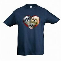 Shih Tzu Dogs in a Heart Kids Dog-Themed Tshirt Childrens Tee Check Measurements