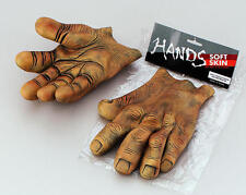Brown Giant Vinyl Hands Goblin Monster Fancy Dress