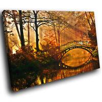 SC356 Forest Autumn Bridge Sunset Landscape Canvas Wall Art Large Picture Prints