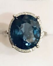 9.60 Carat Natural London Blue Topaz and Diamonds 14K White Gold Ring