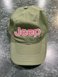 JEEP Olive Green & Pink Embroidered Women's Strapback Hat **NWOT**